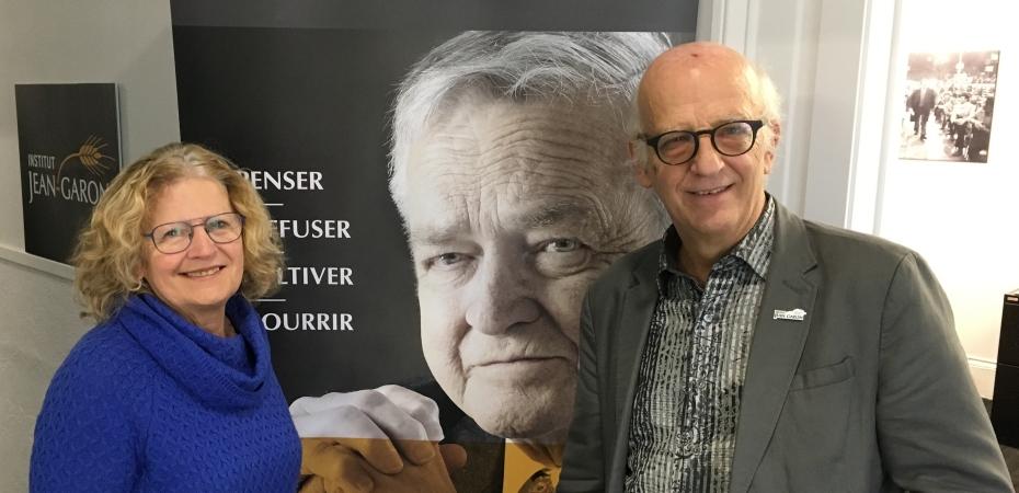 Monique Gagnon, porte-parole de Voix citoyenne, et Simon Bégin, président de l'Institut Jean-Garon